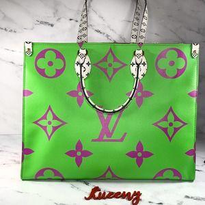 LOUIS VUITTON Monogram Giant Onthego Vert Green Purple large Tote Shoulder bag